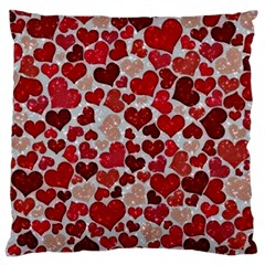 Sparkling Hearts, Red Large Flano Cushion Cases (Two Sides)