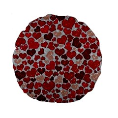 Sparkling Hearts, Red Standard 15  Premium Flano Round Cushions