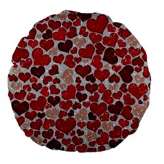 Sparkling Hearts, Red Large 18  Premium Flano Round Cushions