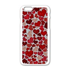 Sparkling Hearts, Red Apple iPhone 6 White Enamel Case