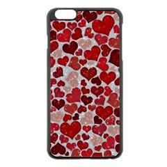 Sparkling Hearts, Red Apple iPhone 6 Plus Black Enamel Case