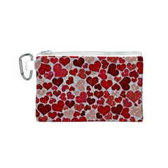 Sparkling Hearts, Red Canvas Cosmetic Bag (S)