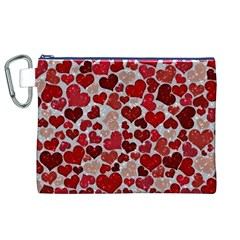 Sparkling Hearts, Red Canvas Cosmetic Bag (XL)
