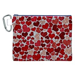 Sparkling Hearts, Red Canvas Cosmetic Bag (XXL)