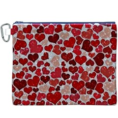 Sparkling Hearts, Red Canvas Cosmetic Bag (XXXL)