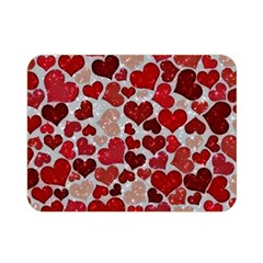 Sparkling Hearts, Red Double Sided Flano Blanket (Mini)