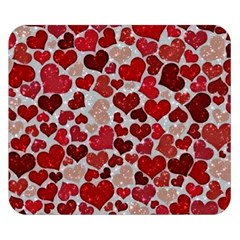 Sparkling Hearts, Red Double Sided Flano Blanket (Small)