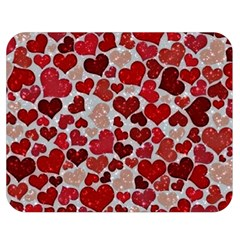Sparkling Hearts, Red Double Sided Flano Blanket (Medium)