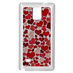 Sparkling Hearts, Red Samsung Galaxy Note 4 Case (White)
