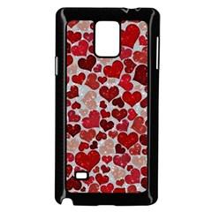 Sparkling Hearts, Red Samsung Galaxy Note 4 Case (black)