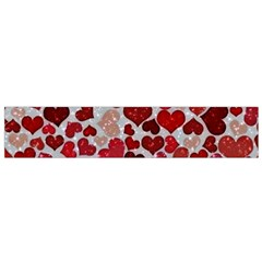 Sparkling Hearts, Red Flano Scarf (Small)