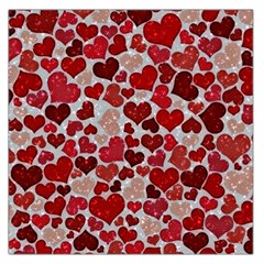 Sparkling Hearts, Red Large Satin Scarf (Square)