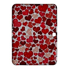 Sparkling Hearts, Red Samsung Galaxy Tab 4 (10.1 ) Hardshell Case
