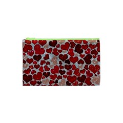 Sparkling Hearts, Red Cosmetic Bag (XS)