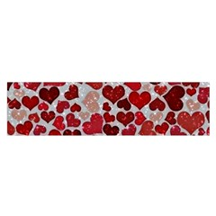 Sparkling Hearts, Red Satin Scarf (Oblong)