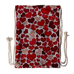 Sparkling Hearts, Red Drawstring Bag (Large)