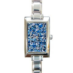 Hearts And Checks, Blue Rectangle Italian Charm Watches