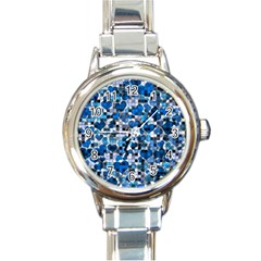 Hearts And Checks, Blue Round Italian Charm Watches