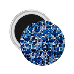 Hearts And Checks, Blue 2.25  Magnets