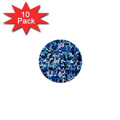 Hearts And Checks, Blue 1  Mini Buttons (10 pack)