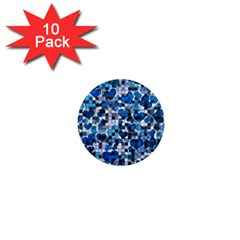 Hearts And Checks, Blue 1  Mini Magnet (10 pack)