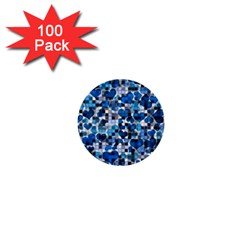 Hearts And Checks, Blue 1  Mini Buttons (100 pack)