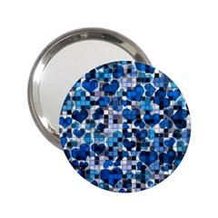 Hearts And Checks, Blue 2.25  Handbag Mirrors