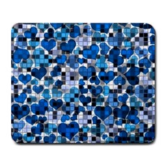 Hearts And Checks, Blue Large Mousepads