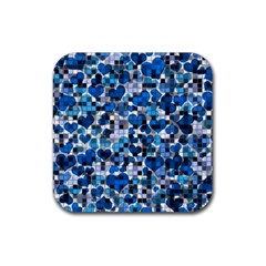 Hearts And Checks, Blue Rubber Square Coaster (4 pack)