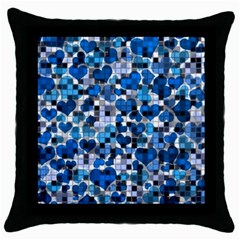Hearts And Checks, Blue Throw Pillow Cases (Black)