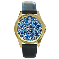 Hearts And Checks, Blue Round Gold Metal Watches