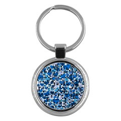 Hearts And Checks, Blue Key Chains (Round)