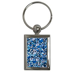 Hearts And Checks, Blue Key Chains (Rectangle)