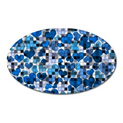 Hearts And Checks, Blue Oval Magnet