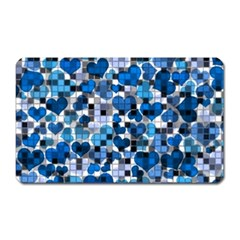 Hearts And Checks, Blue Magnet (Rectangular)