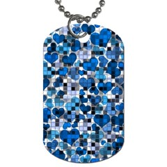 Hearts And Checks, Blue Dog Tag (One Side)