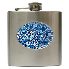 Hearts And Checks, Blue Hip Flask (6 oz)