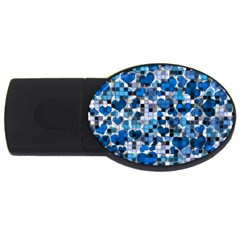 Hearts And Checks, Blue USB Flash Drive Oval (2 GB)