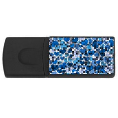 Hearts And Checks, Blue USB Flash Drive Rectangular (1 GB)