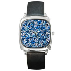 Hearts And Checks, Blue Square Metal Watches