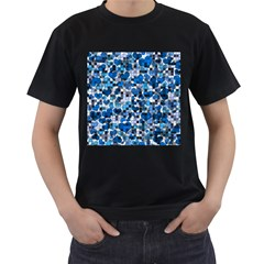 Hearts And Checks, Blue Men s T-Shirt (Black) (Two Sided)