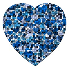Hearts And Checks, Blue Jigsaw Puzzle (Heart)