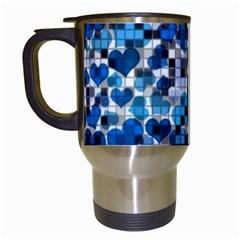 Hearts And Checks, Blue Travel Mugs (White)