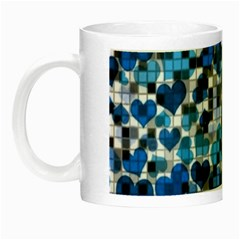 Hearts And Checks, Blue Night Luminous Mugs
