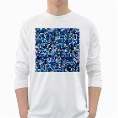 Hearts And Checks, Blue White Long Sleeve T-Shirts