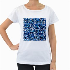 Hearts And Checks, Blue Women s Loose-Fit T-Shirt (White)