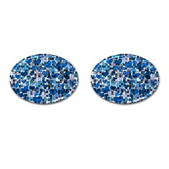 Hearts And Checks, Blue Cufflinks (Oval)