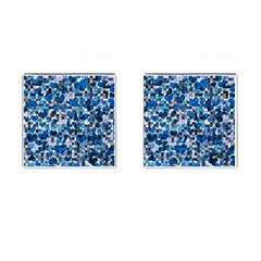 Hearts And Checks, Blue Cufflinks (Square)