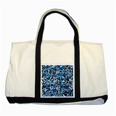 Hearts And Checks, Blue Two Tone Tote Bag