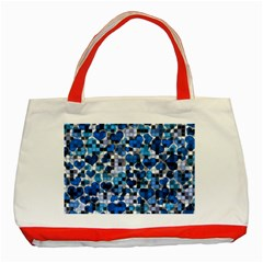 Hearts And Checks, Blue Classic Tote Bag (Red)